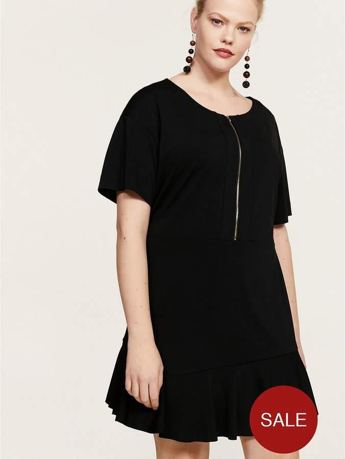 Violeta Plus Size Zip Front Dress - Black