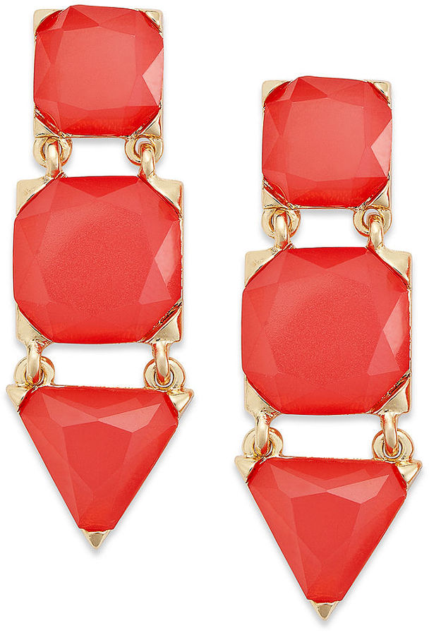Style&Co. Earrings, Gold-Tone Coral-Colored Geometric Bead Drop Earrings