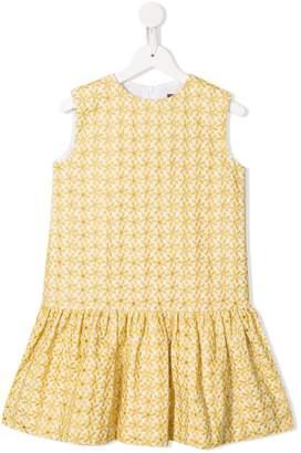 Oscar de la Renta Kids floral embroidered flared dress
