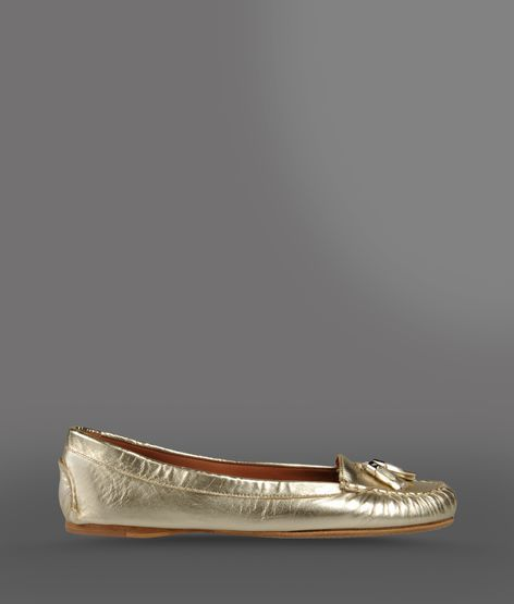 Emporio Armani Loafer In Lamé Effect Leather With Tassels
