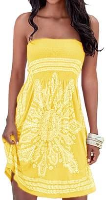 AGL Imagine Women's Strapless Floral Print Bohemian Casual Mini Cover Up Beach Dress(OR,XL)