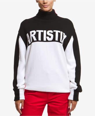 Artistix Cotton Graphic Turtleneck Sweater