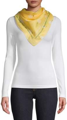 Karl Lagerfeld Paris Floral Cotton Silk Blend Scarf