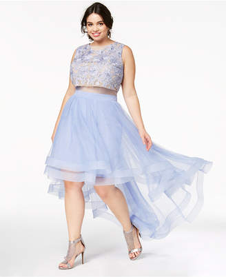 Say Yes to the Prom Trendy Plus Size Illusion High-Low Gown, Created for Macy's
