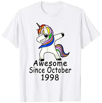 Unicorn Dabbing Awesome Since October 1998 20th Birthday Tee