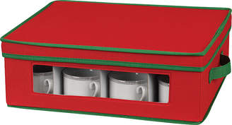 Household Essentials Red Holiday Cup Storage Chest