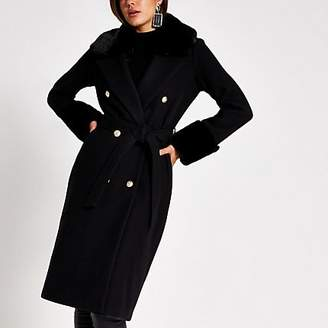 River Island Black faux fur trim tie belt longline coat