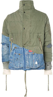 Greg Lauren Panelled Distressed Cotton-Canvas And Denim Jacket