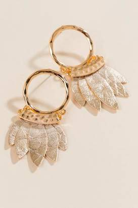 francesca's Hannah Hoop and Leaves Earrings - Gray