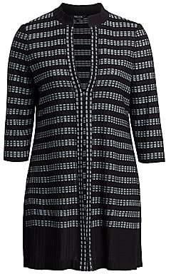 Misook Misook, Plus Size Women's Digital Pattern Rib-Knit Cardigan