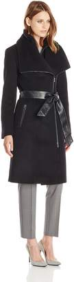 Mackage Women's Nori Belted Wool Coat with Leather Trim
