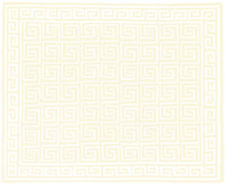 One Kings Lane Custom Greek Key Cotton Throw - Cream