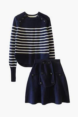 Genuine People Soft Wool Blend Knit Top and Skirt Set