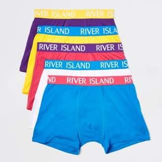 River Island Mens Bright blue RI branded trunks multipack