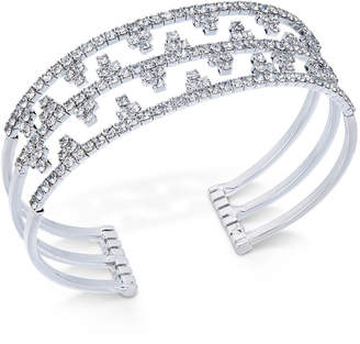INC International Concepts I.n.c. Silver-Tone Openwork Pave Cuff Bracelet, Created for Macy's