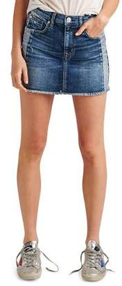 Hudson Viper Studded Raw-Edge Denim Mini Skirt