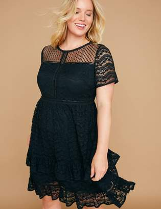 Lane Bryant Ruffle Hem Lace Fit & Flare Dress
