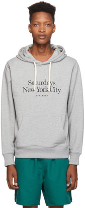 Saturdays NYC Grey Embroidered Miller Standard Ditch Hoodie