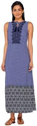 Isaac Mizrahi Live! Geo Printed Maxi Dress w/ Embroidery