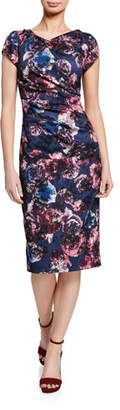 Theia Floral-Print Cap-Sleeve Ruched Sheath Dress