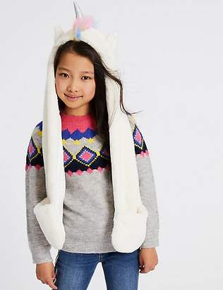 Marks and Spencer Kids' Unicorn Faux Fur Long Trapper (6-14 Years)