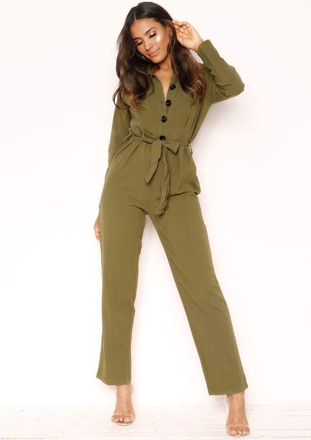 Missyempire Linda Khaki Button Belted Jumpsuit