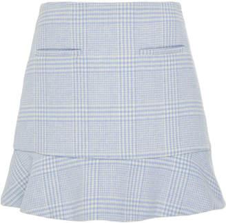 Ganni Woodside Gingham Felt Mini Peplum Skirt