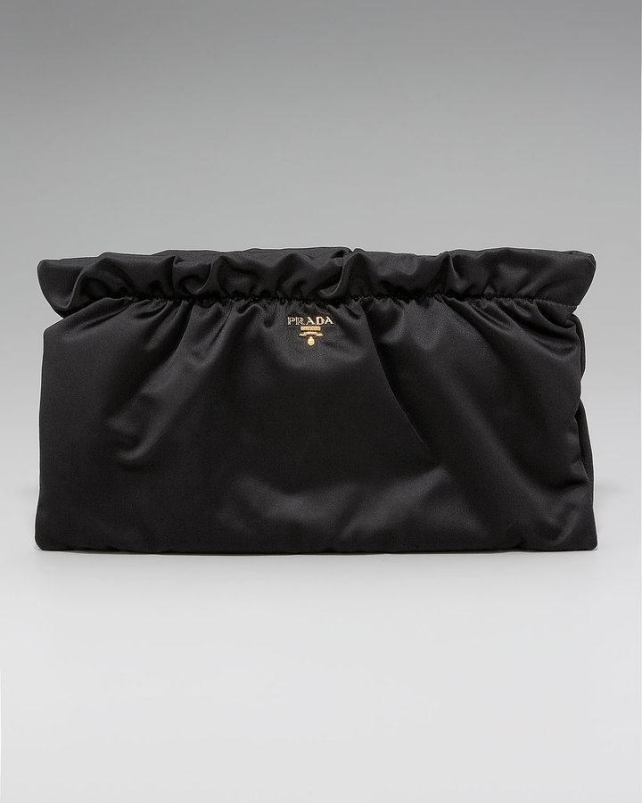 Prada Satin Gathered Clutch