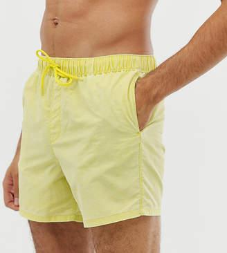 Asos DESIGN TALL Swim Shorts In Acid Wash Yellow In Short Length