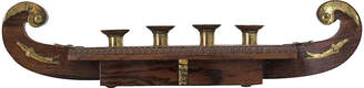 One Kings Lane Vintage Wood & Brass Candle Centerpiece - Fig + Stone Designs
