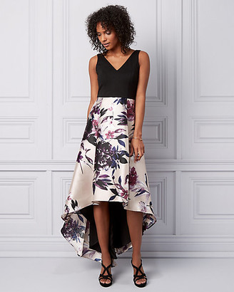 Le Château Floral Print High-Low Gown