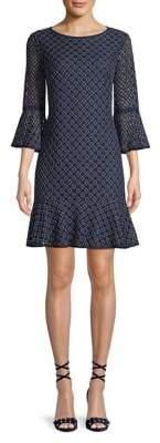 Eliza J Lace Bell-Sleeve Flounce-Hem Dress