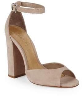 Schutz Block Heel Suede Ankle-Strap Sandals
