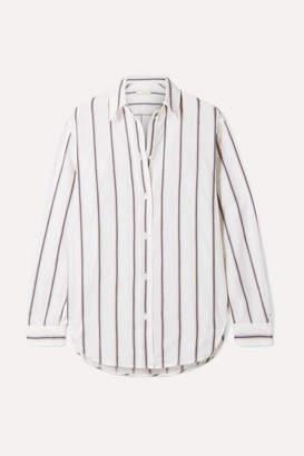 Vanessa Bruno Helianne Striped Cotton And Linen-blend Shirt - Ecru