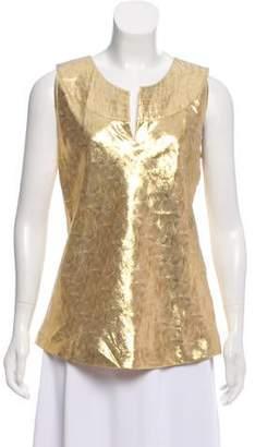 Tory Burch Silk Metallic-Accented Top