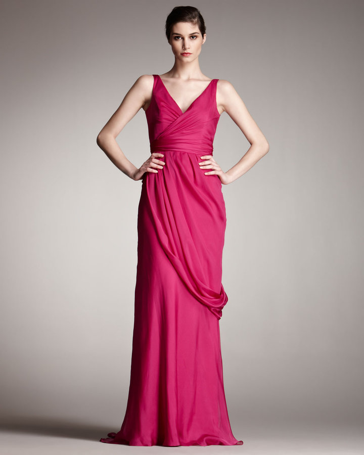 Carmen Marc Valvo Grecian V-Neck Gown