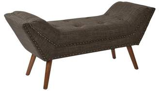 Ave Six AVE-SIX Justin Bench in Taupe Fabric with Antique Bronze Nailheads and Spice Legs K/D
