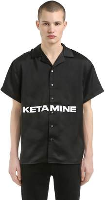Stapled Ketamine Print Satin Shirt