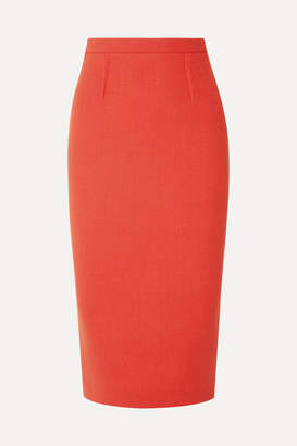 Roland Mouret Arreton Wool-crepe Pencil Skirt - Orange