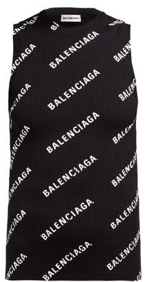 Balenciaga Logo Print Ribbed Knit Sleeveless Top - Womens - Black White