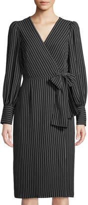 Max Studio Pinstripe Puff-Sleeve Wrap Dress with Bow