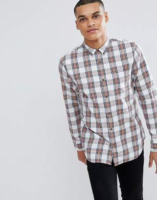 New Look Regular Fit Check Shirt In White