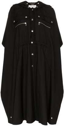 Chloé button detail hooded cape