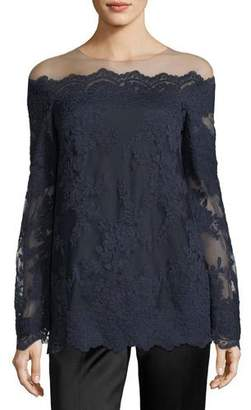 Marchesa Corded Lace Off-the-Shoulder Illusion Blouse