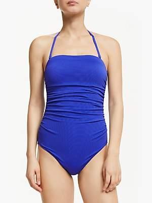 John Lewis & Partners Ruched Bandeau Control Swimsuit, Cobalt