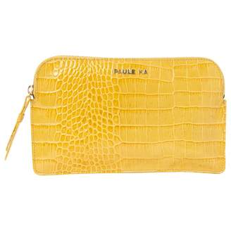 Paule Ka Yellow Leather Clutch Bag