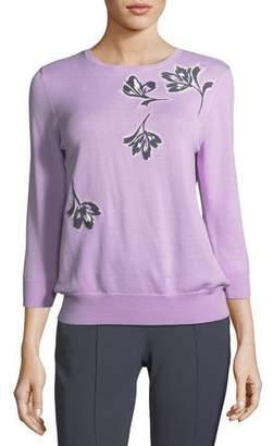 St. John Falling Flower Pullover Wool Sweater