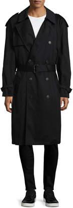 Hart Schaffner Marx Men's Spread Collar Belted Trench Coat