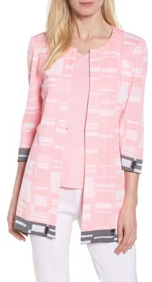Ming Wang Multi Contrast Pattern Long Jacket