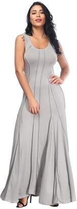 Aecibzo Women's Round Neck Slim Sleeveless Pleated Long Maxi Dress (XXXL, )